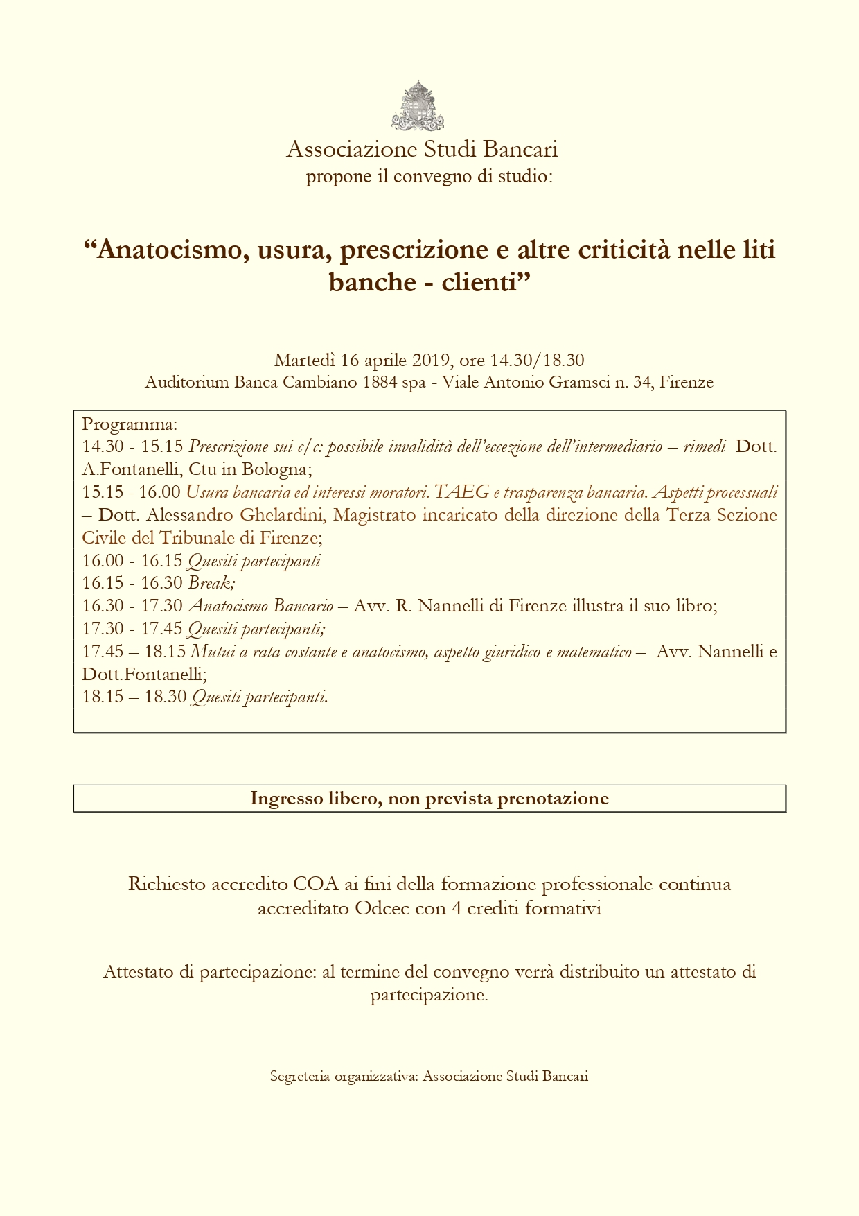 Firenze - Martedì 16 aprile 2019, ore 14.30/18.30