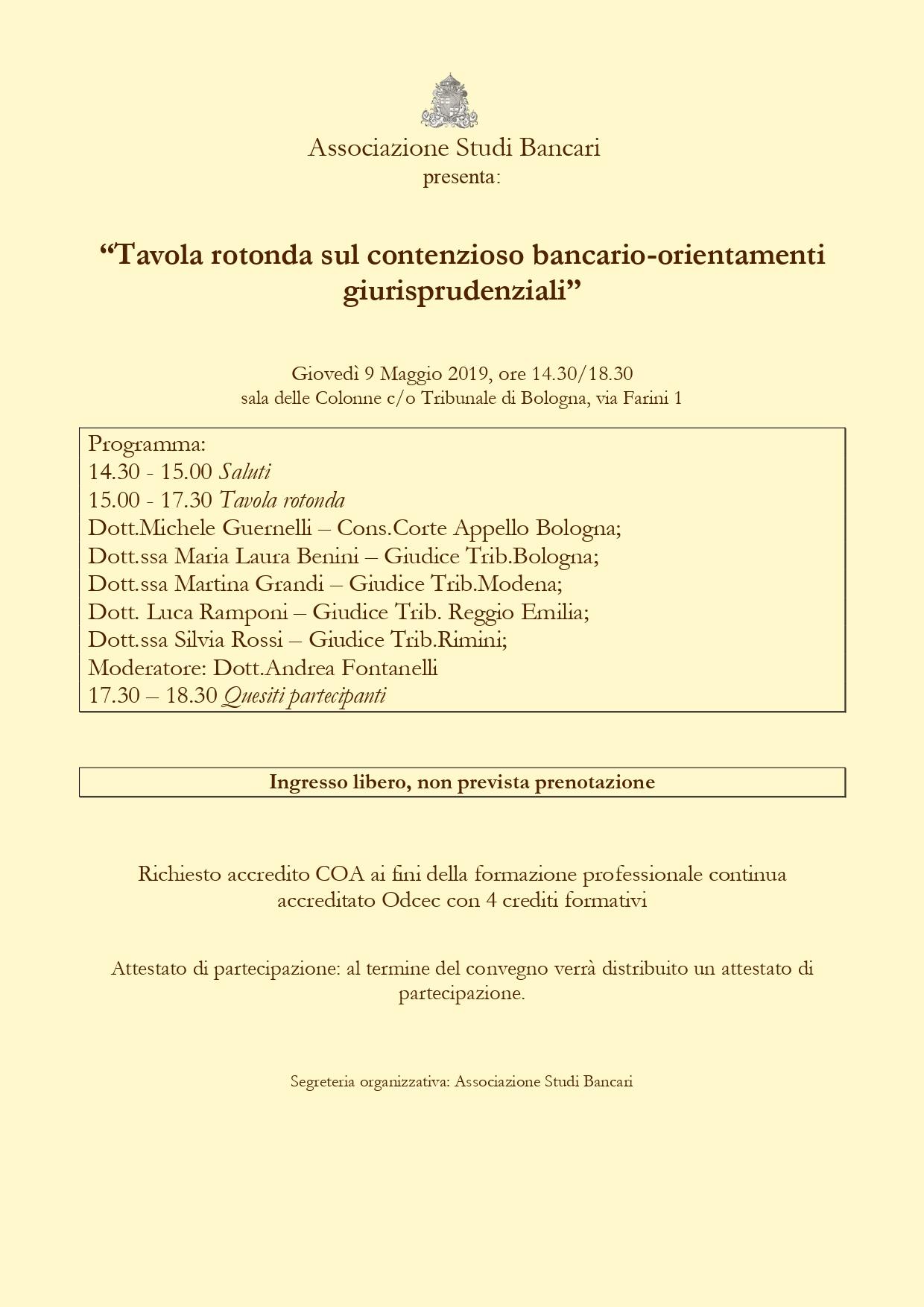 Bologna - Giovedì 9 Maggio 2019, ore 14.30/18.30